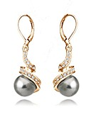 cheap Women's Sweaters-Women's Crystal Drop Earrings - Crystal, Imitation Pearl, Gold Plated Basic White / Black For Wedding / Party / Daily / Gray Pearl / Black Pearl