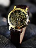 ieftine Ceasuri Mecanice-Bărbați Ceas de Mână ceas mecanic Mecanism manual Gravură scobită Piele Bandă Analog Charm Maro - Negru Argintiu Auriu