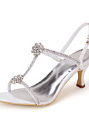 cheap Women's Jumpsuits & Rompers-Women's Shoes Satin Spring Summer T-Strap Stiletto Heel Rhinestone for Pink Silver Blue Gold Purple
