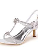 ieftine Salopete Damă-Pentru femei Pantofi Satin Primăvară Vară T-Curea Toc Stilat Piatră Semiprețioasă pentru Roz Argintiu Albastru Auriu Violet