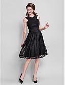 hesapli Nedime Elbiseleri-A-Şekilli V Yaka Diz Boyu Dantelalar Haç / Kırma Dantel ile Nedime Elbisesi tarafından LAN TING BRIDE®
