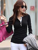 baratos Camisas Femininas-Mulheres Camiseta - Feriado Moda de Rua Sólido Algodão
