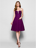 cheap Mother of the Bride Dresses-A-Line Sweetheart Neckline Knee Length Chiffon Mother of the Bride Dress with Beading / Sequin / Crystal Brooch by LAN TING BRIDE® / Wrap Included