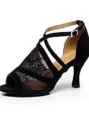 cheap Cocktail Dresses-Women's Latin Shoes / Ballroom Shoes Lace Sandal Buckle Stiletto Heel Customizable Dance Shoes Black
