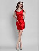 Χαμηλού Κόστους Φορέματα κοκτέιλ-Ίσια Γραμμή Με Κόσμημα Κοντό / Μίνι Ελαστικό Σατέν Κοκτέιλ Πάρτι Φόρεμα με Χάντρες / Κρυστάλλινη λεπτομέρεια / Πλαϊνό ντραπέ με TS Couture®