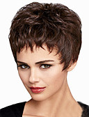 preiswerte Damen Woll- & Wollgemischmäntel-Synthetische Perücken Damen Glatt / Natürlich gewellt Braun Asymmetrischer Haarschnitt Synthetische Haare Natürlicher Haaransatz Braun Perücke Kurz Kappenlos Schwarz