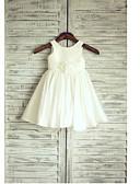billige Bryllupsfestkjoler-A-linje Telang Blomsterpikekjole - Taft Ermeløs Besmykket med Belte / bånd / Plissert av LAN TING BRIDE®