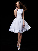 cheap Wedding Dresses-A-Line Bateau Neck Knee Length Organza / Satin Made-To-Measure Wedding Dresses with Bowknot / Sash / Ribbon by LAN TING BRIDE®