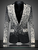 cheap Women's Dresses-Men's Street chic Sophisticated Plus Size Slim Blazer Print / Long Sleeve