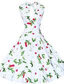 baratos Vestidos de Mulher-Mulheres Vintage Solto Bainha Rodado Vestido - Flor Estampado, Floral Nadador Decote em V Profundo Altura dos Joelhos
