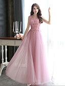 cheap Evening Dresses-A-Line Illusion Neck Floor Length Tulle / Beaded Lace Formal Evening Dress with Beading / Appliques by LAN TING Express