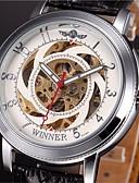 baratos Relógios da Moda-WINNER Homens Relógio de Pulso / relógio mecânico Gravação Oca PU Banda Amuleto Preta / Automático - da corda automáticamente