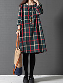 baratos Vestidos de Mulher-Mulheres Tamanhos Grandes Temática Asiática Solto Vestido Estampa Colorida Quadriculada