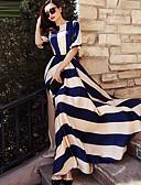 cheap Women's Dresses-Women's Holiday Elegant Swing Dress - Striped Blue & White, Print Maxi / Spring / Summer / Fall