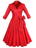 preiswerte Kleider-Damen Retro Baumwolle Hose - Solide Rüsche Schwarz / V-Ausschnitt