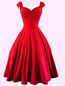 cheap Vintage Dresses-Women's Plus Size Vintage Cotton A Line Dress - Solid Colored Red Sweetheart