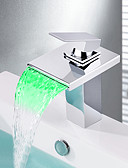 preiswerte Exotische Herrenunterwäsche-Moderne Mittellage Wasserfall LED Keramisches Ventil Ein Loch Einhand Ein Loch Chrom, Waschbecken Wasserhahn