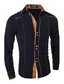 זול חולצות לגברים-אחיד צווארון רחב רזה כותנה, חולצה - בגדי ריקוד גברים בסיסי / שרוול ארוך