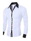 hesapli Erkek Gömlekleri-Erkek İnce - Gömlek Solid İş / Günlük Çalışma Gri / Uzun Kollu / Bahar / Sonbahar