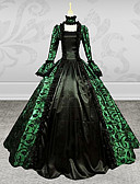 cheap Historical & Vintage Costumes-Victorian / Medieval Costume Women's Dress / Party Costume / Masquerade Green Vintage Cosplay Lace / Satin Long Sleeve Poet Sleeve Long Length / Leaf
