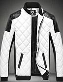 cheap Men's Jackets & Coats-Men's Basic Jacket - Color Block, Patchwork Stand