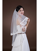 cheap Wedding Veils-Two-tier Lace Applique Edge Wedding Veil Fingertip Veils 53 Rhinestone Appliques Tulle