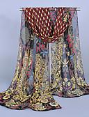 baratos Echarpes Coloridas de Chiffon-Mulheres Festa / Trabalho Chiffon, Retângular - Estampado Multi-Côr