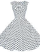 abordables Vestidos de Talla Grande-Mujer Tallas Grandes Noche Vintage Algodón Línea A Vestido A Lunares Hasta la Rodilla Escote Cuadrado