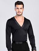 cheap Latin Dancewear-Latin Dance Tops Men's Training / Performance Spandex Buttons Long Sleeve Top