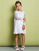 preiswerte Kleider für die Blumenmädchen-A-Linie Knie-Länge Blumenmädchenkleid - Spitze Langarm U-Ausschnitt mit Spitze durch LAN TING BRIDE®