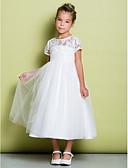 Χαμηλού Κόστους Λουλουδάτα φορέματα για κορίτσια-Γραμμή Α Κάτω από το γόνατο Φόρεμα για Κοριτσάκι Λουλουδιών - Δαντέλα / Τούλι Κοντομάνικο Με Κόσμημα με Δαντέλα με LAN TING BRIDE®