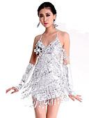 cheap Ballroom Dance Wear-Latin Dance Dresses Women's Performance Polyester / Spandex Paillette Sleeveless Dress