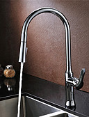 cheap Women's Bottoms-Contemporary Pull-out/Pull-down Deck Mounted Pre Rinse Pullout Spray Ceramic Valve One Hole Single Handle One Hole Chrome, Kitchen faucet