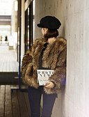 tanie Damskie płaszcze z futrem naturalnym i sztucznym-Damskie Wyjściowe Vintage Zima Regularny Futro, Solidne kolory Okrągły dekolt Długi rękaw Sztuczne futro Brązowy L / XL / XXL