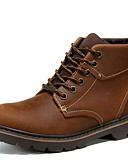 זול כובעים אופנתיים-יוניסקס נעליים עור נאפה Leather סתיו נוחות / קאובוי / מגפיים מערביים / מגפי רכיבה מגפיים צהוב / חום בהיר / מגפיים אופנתיים