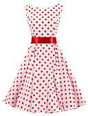 זול שמלות נשים-עד הברך קפלים, מנוקד - שמלה גזרת A כותנה וינטאג' בגדי ריקוד נשים