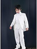 billige Brudepikekjoler-Hvit Polyester Ringbærerdress - 5 Inkluderer Jakke Cummerband Skjorter Bukser Sløyfe