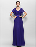 cheap Wedding Dresses-Sheath / Column V Neck Floor Length Chiffon Bridesmaid Dress with Criss Cross by LAN TING BRIDE®