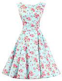 baratos Vestidos de Mulher-Mulheres Vintage Algodão Evasê Vestido Floral Altura dos Joelhos / Padrões florais