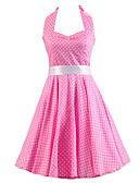 hesapli Kadın Elbiseleri-Kadın's Vintage Pamuklu A Şekilli Elbise - Solid, Fiyonklar Boyundan Bağlamalı Diz-boyu Yüksek Bel