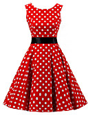 cheap Vintage Dresses-Women's Going out Vintage Cotton A Line Dress - Polka Dot Red, Print