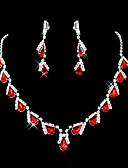baratos Corpetes-Ruby Sintético Franjas Conjunto de jóias - Zircônia Cubica, Imitações de Diamante Caído Festa Incluir Vermelho Para / Brincos / Colares