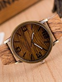 cheap Men's Watches-Men's Fashion Watch / Wood Watch Japanese Casual Watch PU Band Charm Brown / Grey / Two Years