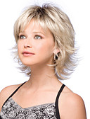 cheap Women's Jumpsuits & Rompers-Synthetic Wig Natural Wave Blonde Bob Haircut / With Bangs Synthetic Hair Dark Roots / Side Part Blonde Wig Women's Short Capless