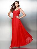 זול שמלות נשף-גזרת A צווארון V באורך הקרסול שיפון / תחרה נשף רקודים / ערב רישמי שמלה עם תחרה על ידי TS Couture® / גב פתוח