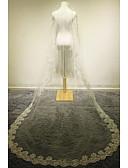 cheap Wedding Veils-One-tier Lace Applique Edge Wedding Veil Cathedral Veils 53 Appliques Lace Tulle