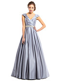 cheap Prom Dresses-A-Line V Neck Floor Length Satin Prom / Formal Evening Dress with Beading / Criss Cross by TS Couture®