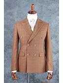 preiswerte Anzüge-Braun Kariert / Gingham Reguläre Passform Baumwollmischung Anzug - Fallendes Revers Zweireiher - 4 Knöpfe