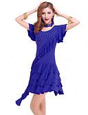cheap Men's Shirts-Latin Dance Dresses Women's Performance Milk Fiber Crystals / Rhinestones Dress / Samba