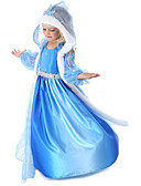 cheap Women's Dresses-Princess Fairytale Elsa Cosplay Costume Movie Cosplay Blue Coat Dress Gloves Halloween New Year Chiffon